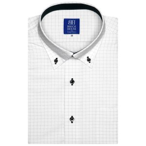 ワイシャツ 半袖 形態安定 ドゥエボットーニ ボタンダウン 白×グレーチェック 新体型|shirt