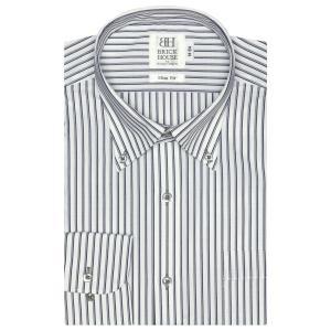 スリム 長袖 ワイシャツ 形態安定 ボタンダウン 白×グレー、ネイビーストライプ|shirt