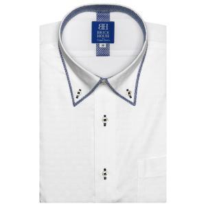ワイシャツ 半袖 形態安定 フィットインナー パイピング風 ボタンダウン 白×市松格子織柄 新体型|shirt