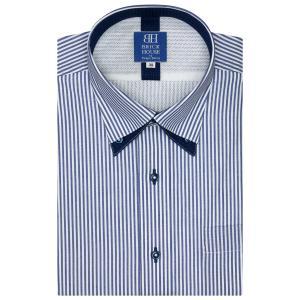 ワイシャツ 半袖 形態安定 メッシュインナー プリーツ マイター ボタンダウン 白×ブルーストライプ 新体型|shirt