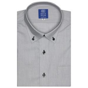 ワイシャツ 半袖 形態安定 ドゥエボットーニ ボタンダウン グレー×無地調 新体型|shirt