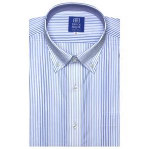 新体型 半袖 ワイシャツ 形態安定 ドゥエボットーニ ボタンダウン 白×サックスストライプ|shirt