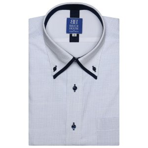 ワイシャツ 半袖 形態安定 フィットインナー ボタンダウン ダブルカラー 白×サックス、ブルー刺子調柄 新体型 shirt