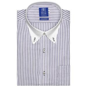 ワイシャツ 半袖 形態安定 Wガーゼ クレリック ボタンダウン 綿100% 白×パープルストライプ 新体型|shirt