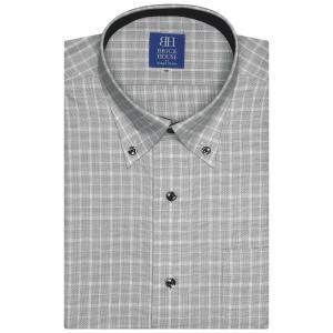 ワイシャツ 半袖 形態安定 ボタンダウン グレー×白チェック 新体型|shirt