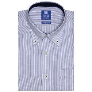 新体型 半袖 Wガーゼ ワイシャツ 形態安定 ボタンダウン 綿100% 白×ブルーストライプ shirt