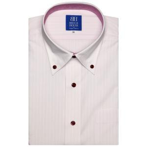 新体型 半袖 ワイシャツ 形態安定 ボタンダウン ピンク×白ストライプ織柄|shirt