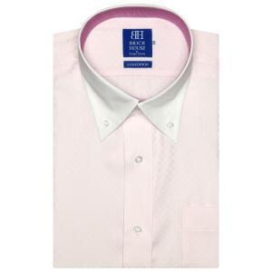 ワイシャツ 半袖 形態安定 クレリック ボタンダウン 綿100% ピンク×市松格子織柄 新体型|shirt