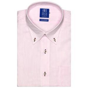 ワイシャツ 半袖 形態安定 Wガーゼ ボタンダウン 綿100% ピンク×白ストライプ 新体型|shirt