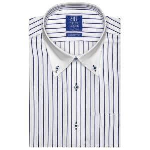 ワイシャツ 半袖 形態安定 クレリック ボタンダウン 綿100% 白×ブルーストライプ 新体型|shirt