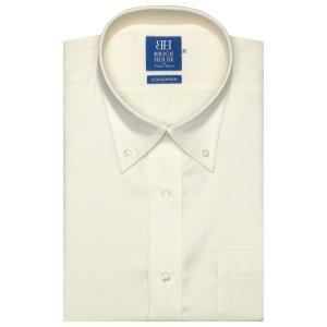 新体型 半袖 ワイシャツ 形態安定 ボタンダウン 綿100% クリームイエロー×織柄|shirt