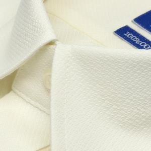 新体型 半袖 ワイシャツ 形態安定 ボタンダウン 綿100% クリームイエロー×織柄|shirt|03