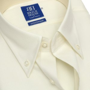 新体型 半袖 ワイシャツ 形態安定 ボタンダウン 綿100% クリームイエロー×織柄|shirt|04