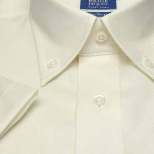新体型 半袖 ワイシャツ 形態安定 ボタンダウン 綿100% クリームイエロー×織柄|shirt|05