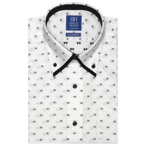 ワイシャツ 半袖 形態安定 ボタンダウン ダブルカラー 綿100% 白×黒小紋柄・カットドビー 新体型|shirt