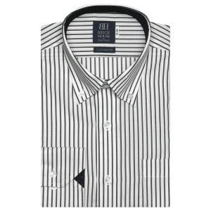 標準体 長袖 ワイシャツ 形態安定 ドゥエボットーニ ボタンダウン 綿100% 白×グレーストライプ|shirt