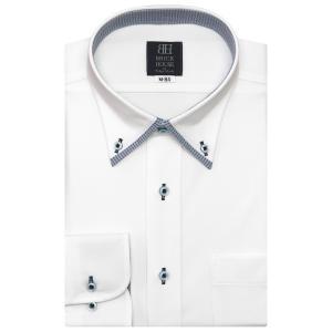 標準体 長袖 ワイシャツ 形態安定 マイター ボタンダウン 白×編柄|shirt
