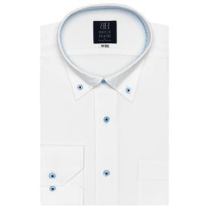 標準体 長袖 ワイシャツ 形態安定 ドゥエボットーニ ボタンダウン 白×市松格子織柄|shirt
