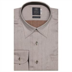 ワイシャツ 長袖 形態安定 スナップダウン 綿100% ベージュ×ブラウンヘリンボーン織柄 標準体 shirt