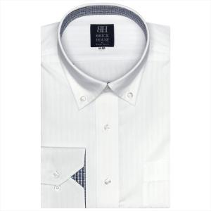 ワイシャツ 長袖 形態安定 ドゥエボットーニ ボタンダウン 白×ストライプ織柄 標準体 shirt