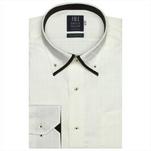 ワイシャツ 長袖 形態安定 マイター ドゥエボットーニボタンダウン 綿100% クリームイエロー×チェック織柄 標準体 shirt
