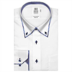 ワイシャツ 長袖 形態安定 パイピング風 ボタンダウン 綿100% 白×小紋織柄 スリム shirt