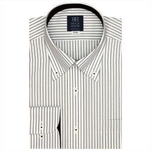 ワイシャツ 長袖 形態安定 ボタンダウン 白×ブラウンストライプ 標準体 shirt