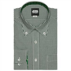 STAR WARS スター・ウォーズ / ワイシャツ 長袖 形態安定 ボタンダウン 白×グリーンチェック(ヨーダ柄別布) 標準体|shirt