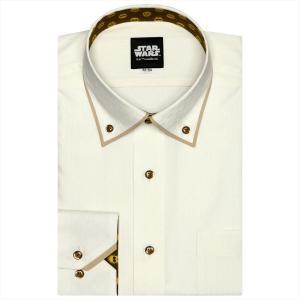 STAR WARS スター・ウォーズ / ワイシャツ 長袖 形態安定 パイピング風 ドゥエボットーニ ボタンダウン クリームイエロー×幾何学模様織柄(C-3PO柄別布) 標準体|shirt