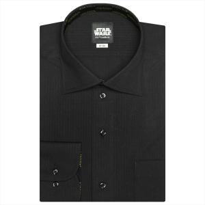 STAR WARS スター・ウォーズ / ワイシャツ 長袖 形態安定 ワイド 黒×ストライプ織柄(ロゴ柄別布) 標準体|shirt