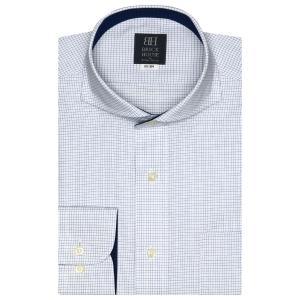 ワイシャツ 長袖 形態安定 ホリゾンタル ワイド 白×ブルーチェック 標準体 shirt