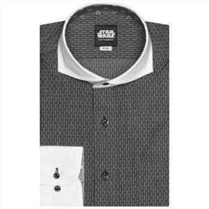 STAR WARS スター・ウォーズ / ワイシャツ 長袖 形態安定 クレリック ホリゾンタル ワイド グレー×織柄(ストームトルーパー柄別布) 標準体|shirt