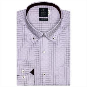 ワイシャツ 長袖 形態安定 ドゥエボットーニ ボタンダウン 綿100% パープル×チェック 標準体|shirt