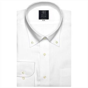 ワイシャツ 長袖 形態安定 ボタンダウン 白×斜めストライプ織柄 標準体|shirt