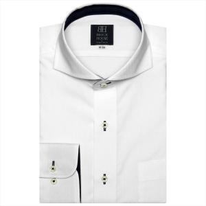 ワイシャツ 長袖 形態安定 ホリゾンタル ワイド 白×小紋織柄 標準体 shirt