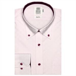 ワイシャツ 長袖 形態安定 ボタンダウン ピンク×市松格子織柄 スリム|shirt