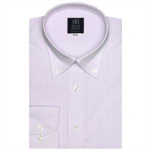 ワイシャツ 長袖 形態安定 ボタンダウン パープル×ストライプ、ダイヤ織柄 標準体 shirt