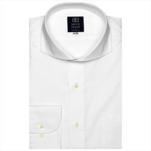 ワイシャツ 長袖 形態安定 ホリゾンタル ワイド 白×ストライプ織柄 標準体 shirt