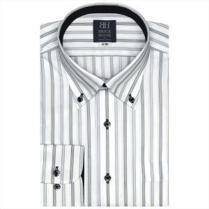 ワイシャツ 長袖 形態安定 ボタンダウン 白×グレーストライプ 標準体 shirt