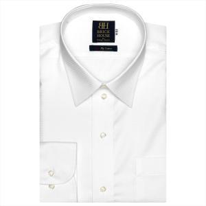 ワイシャツ 長袖 形態安定 レギュラー 綿100% 白×織柄 標準体 shirt