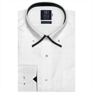 ワイシャツ 長袖 形態安定 マイター ドゥエボットーニボタンダウン 綿100% 白×チェック織柄 標準体 shirt