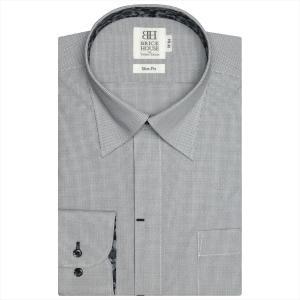 Disney ディズニー / ワイシャツ 長袖 形態安定 スナップダウン 白×黒チェック スリム shirt