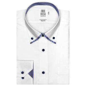 ワイシャツ 長袖 形態安定 マイター ドゥエボットーニ ボタンダウン 綿100% 白×小紋織柄 スリム|shirt