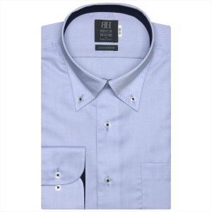 ワイシャツ 長袖 形態安定 ボタンダウン 綿100% サックス×ヘリンボーン織柄 標準体|shirt