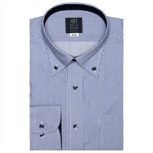 ワイシャツ 長袖 形態安定 ボタンダウン 白×ブルーストライプ 標準体|shirt