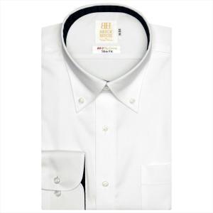 ワイシャツ 長袖 形態安定 ボタンダウン 綿100% 白×織柄 スリム|shirt