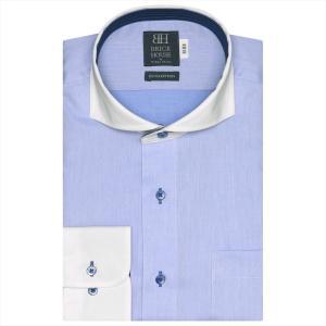 ワイシャツ 長袖 形態安定 クレリック ホリゾンタル ワイド 綿100% サックス×織柄 標準体 shirt