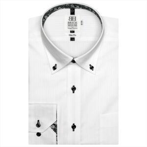 Disney ディズニー / ワイシャツ 長袖 形態安定 ドゥエボットーニ ボタンダウン 白×ストライプ織柄 スリム|shirt