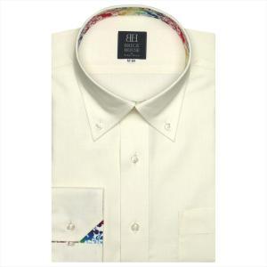 Disney ディズニー / ワイシャツ 長袖 形態安定 ボタンダウン クリームイエロー×市松格子織柄 標準体|shirt