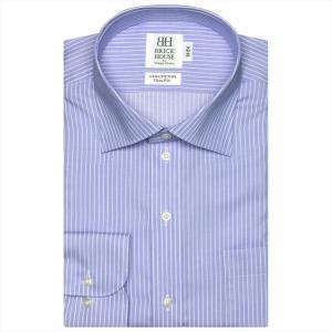 ワイシャツ 長袖 形態安定 ワイド 綿100% ブルー×白ストライプ スリム|shirt